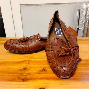 COLE HAAN BRAGANO Brown Woven Leather Loafers 16M